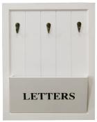 Wooden White Letter Holder Rack With 3 Key Hooks ~ Letter And Key Rack