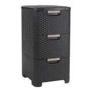 Curver 206315 Storage Drawer Tower Wicker Look Polypropylene 3 x 14 L
