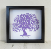 Personalised Assorted Colours Family Tree Paper Cut Box Frame Black