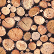 Natural - 97710 - Rustic Stacked Wood Logs - Holden Decor Wallpaper