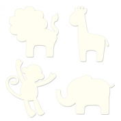 Wallpops Baby Silhouettes Set, 4-Piece, Jungle Ivroy White