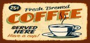 Wooden Funny Sign Wall Plaque Fresh Brewed Coffee Retro