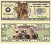 Novelty Dollar Yorkshire Terrier Dog Puppy Million Dollar Bills X 4 New