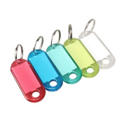 Vktech 100 Pcs Colourful Clear Plastic Key Tags ID Label with Key Chain Tag Card Split Ring