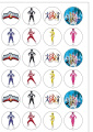 24 Precut Power Rangers Edible Wafer Paper Cake Toppers