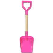 "A SHIELD End Wooden Handle Shaft Spade 20"" 50cm - Pink"