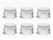 Clear Glass 5ml Thick Wall Balm Jars with White Foam Lined Smooth Lids