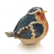Welforth Fine Pewter Bejewelled Blue Orange Bird Trinket Small Box