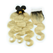 Carina Hair Dark Roots Blonde T1B/613 Ombre Virgin Body Wave Peruvian Hair With Closure 3 Bundles With 1 Closure Size:24 26 70cm +60cm Closure
