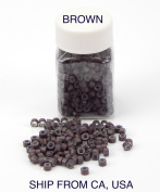 500 Silicone Micro Link Rings 5mm Lined Beads for Hair Extensions Tool Brown
