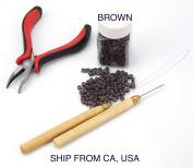 Hair Extension Metal Plier Tool + Wood Hook + Pulling Needle Loop Threader + 500 Micro Link Beads Brown