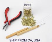 Hair Extension Metal Plier Tool + Wood Hook + Pulling Needle Loop Threader + 500 Micro Link Beads Blonde