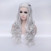 New Womens Silver White Long Wavy Curly Full Hair Wigs Cosplay Fancy Dress Wig