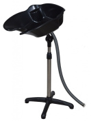 GHP Portable Adjustable Height Black Shampoo Basin Hair Swivel Bowl