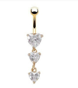 Oasis Plus Three Heart White Crystal Navel Belly Button Ring Gold Bar Body Piercing Jewellery