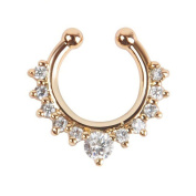 Oasis Plus White Crystal Gold Clip On Septum Fake Nose Ring Hoop Non Piercing Hanger Nose Rings Stud Body Jewellery