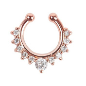 Oasis Plus White Crystal Rose Gold Clip On Septum Fake Nose Ring Hoop Non Piercing Hanger Nose Rings Stud Body Jewellery