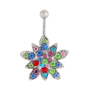 MyMei Sexy and Luxury Zircon Crystal Body Piercing Surgical Navel Button Belly Ring with Gem Multicolor