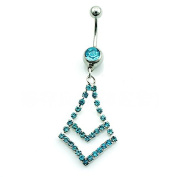 Light Blue gems chains navel Belly button Ring Dangle body piercing Jewelled Navel Body Jewellery 14G Surgical Steel