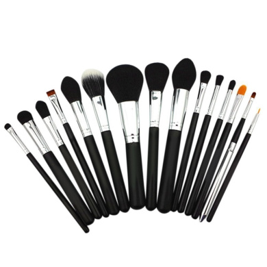 XMJPS Professional 15 Pcs Makeup Brushes Set Powder Foundation Eyeshadow Eyeliner Lip Brush Tool (Black-Silver)
