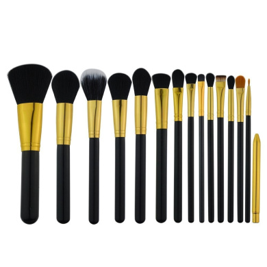 XMJPS Professional 15 Pcs Makeup Brushes Set Powder Foundation Eyeshadow Eyeliner Lip Brush Tool (Black--Gold)