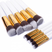 Makeup Brush Set Premium Kabuki Cosmetic Brushes Set Tools Cosmetics Eyeshadow Foundation Blending Blush Eyeliner Face Powder Kit & Applicators-Professional Grade & Tested Synthetic Bristles 10pcs