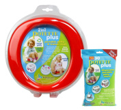 Kalencom 2 in 1 Potette Plus Portable Potty-Toilet Training Seat, Red with 30 Potty Liners Set