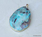 Ocean Jasper Faceted Pendant - Ocean Jasper Druzy Faceted Pendant - Slab Bead Stone - Blue Green Mint - Gold Plated Edge and Bail - 40mm - 50mm