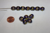 Venetian Style - Lamp Work Glass Beads - 14 X 10 Mm - Oval with Gold Works - 24 Beads Per Pack - Excellent 10 Gemstone Colours (Sapphire