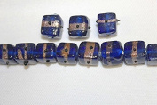 Lampwork Glass Beads - Hand Crafted - 12 X 12 Mm - Cube with Gold Line - 50 Beads Per Pack - Available in Many Colours (Sapphire