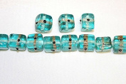 Lampwork Glass Beads - Hand Crafted - 12 X 12 Mm - Cube with Gold Line - 50 Beads Per Pack - Available in Many Colours (Light Aqua