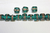 Lampwork Glass Beads - Hand Crafted - 12 X 12 Mm - Cube with Gold Line - 50 Beads Per Pack - Available in Many Colours (Teal