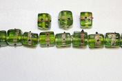 Lampwork Glass Beads - Hand Crafted - 12 X 12 Mm - Cube with Gold Line - 50 Beads Per Pack - Available in Many Colours (Lime