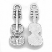 Packet of 15 x Antique Silver Tibetan 25mm Charms Pendants (Violin) - (ZX08565) - Charming Beads