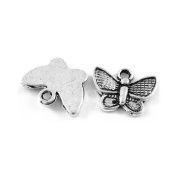 Packet of 30 x Antique Silver Tibetan 13mm Charms Pendants (Butterfly) - (ZX09045) - Charming Beads