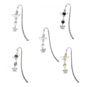 Housweety Silver Tone Mixed Charm Bookmarks W/Pot Butterfly Dangle 85mm(3 3/8Inch) 5PCs