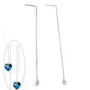 Top Plaza Ear Threads with Loop, 925 Sterling Silver, 11cm , 1 Pair