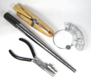 Pro Ring Making Tool Kit- Includes Steel Mandrel, Ring Coiling Pliers, Wood Ring Clamp, Finger Size Gauge