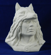 Provincial Proud Warrior with Wolf Headdress Ready to Paint Ceramic Bisque - Mould P-816