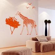 Wall Decals Animals Giraffe Jungle Safari Africa Birds Trees Vinyl Decal Sticker Home Decor Bedroom Living Children's Any Room Murals ML211