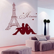 Wall Decals Eiffel Tower Paris Je t'aime Couple in Love Man and Woman Vinyl Decal Sticker Home Decor Bedroom Living Any Room Murals ML205