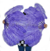 Hot-fans Single Layer Ostrich Feather Fan 60cm x 100cm for Pair, Aqua Violet
