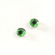 6mm Pair of Human Green Glass Eyes Crafting Supply Flatback Cabochons for Doll or Jewellery Making