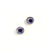 6mm Pair of Light Purple Gear Steampunk Glass Eyes Crafting Supply Flatback Cabochons for Doll or Jewellery Making