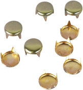 Gold Green Enamelled Metal Round Vintage Studs - 6mm - 100 pieces