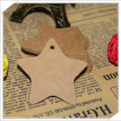 100pcs Blank Brown Kraft Paper Star Marked Blank Card Hand Draw Tags Labelled Card Model+20M String