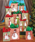 10-Pc. Plaid Snowman Gift Bag Set