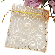 Sealike 100 Pcs Champagne Organza Drawstring Pouches Jewellery Party Wedding Favour Gift Bags with Stylus