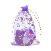 Sealike 100 Pcs Love Heart Organza Drawstring Pouches Gift Bags Candy Jewellery Bags for Wedding Favour with Stylus