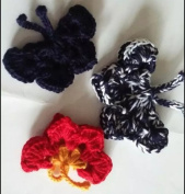 Hand-crocheted Wool Nylon Blend Yarn Butterfly Butterfly Beautiful Blue Butterfly Red Mixed 3 Set